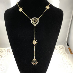 Crystal Stars 20 In Necklace Adjustable Gold Tone